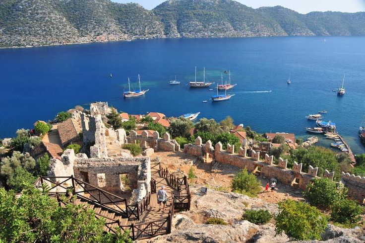 "Kas, Turkey:  ""This beautiful natural harbour town is framed by the dramatic Taurus Mountains and is located a twenty-five-minute drive from Kalkan along a spectacularly beautiful coastal road. The winding cobbled streets, colourful local shops and local market place all combine to provide a real Turkish flavour."""