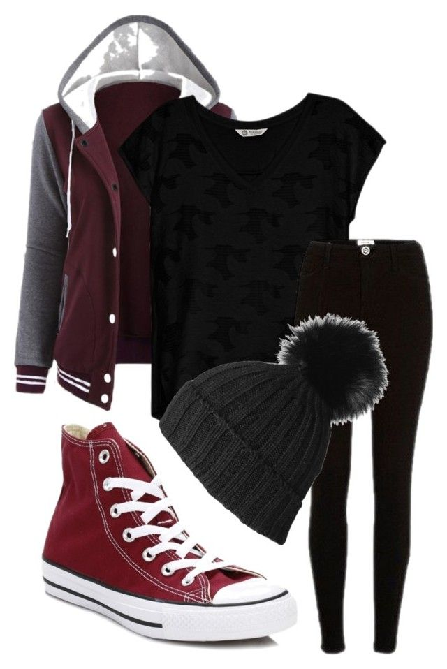 """Untitled #136"" by iballisticredhead on Polyvore featuring Bobeau, River Island, Converse and Black"