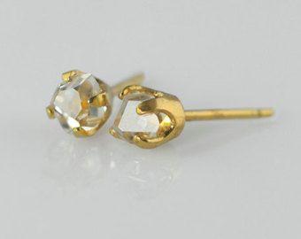 Impresionante diamante Herkimer reciclado claro Eco joyas