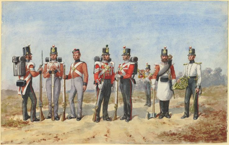 British; 25th(King's Own Borderers) Regiment of Foot, Grenadier Company,Corporal. Centre Company, Private. Private, undress. Sergeant Light Company, Sergeant, Centre Company, Trumpweter(to the rear), Sapper & Musician. 1853 by R.Simkin