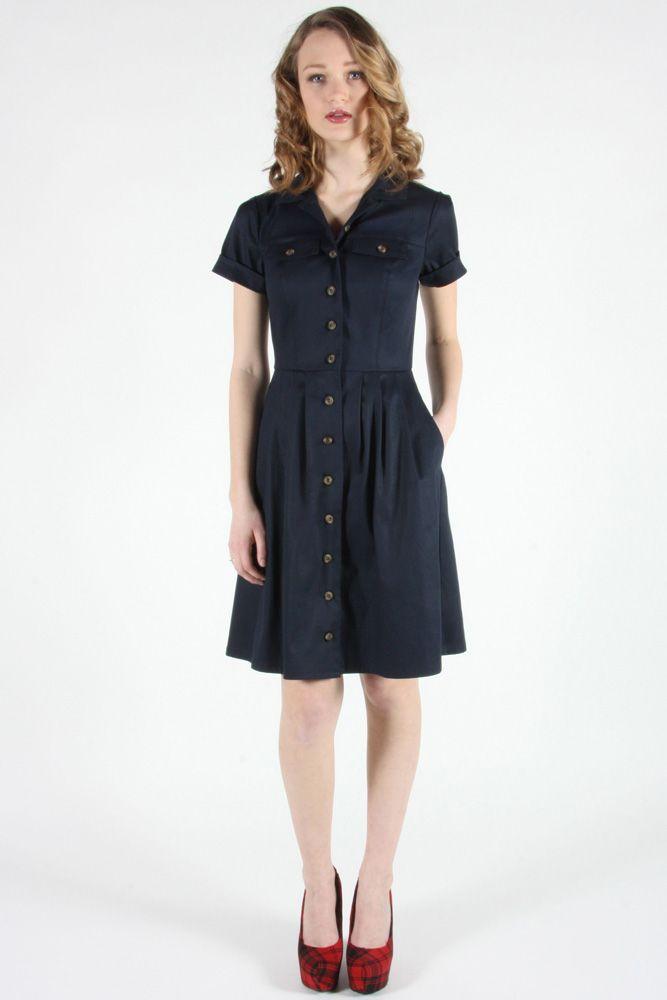 Meadowlark Dress Navy by Birds of North America.  Classic stretch twill shirt dress.