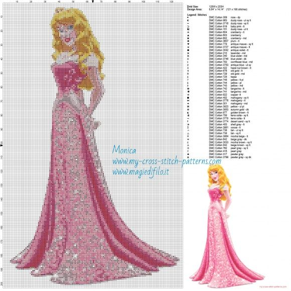 Princesa Aurora patrón punto de cruz