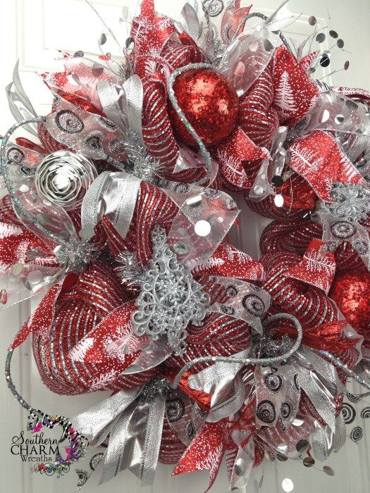 silver deco mesh wreaths   XL DELUXE Deco Mesh CHRISTMAS Wreath For Door or Wall Red Silver Tree ...