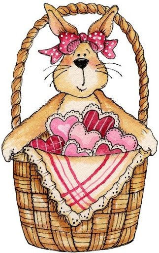 BUNNY AND BASKET OF HEARTS CLIP ART