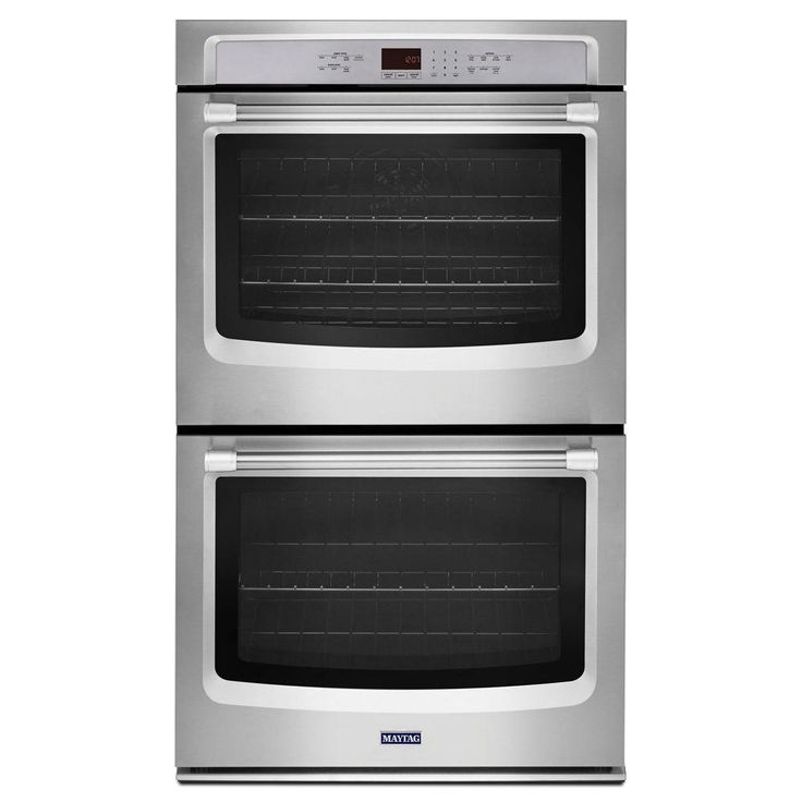 Maytag 27 in. Double Electric Wall Oven Self-Cleaning with Convection in Stainless Steel-MEW9627DS - The Home Depot