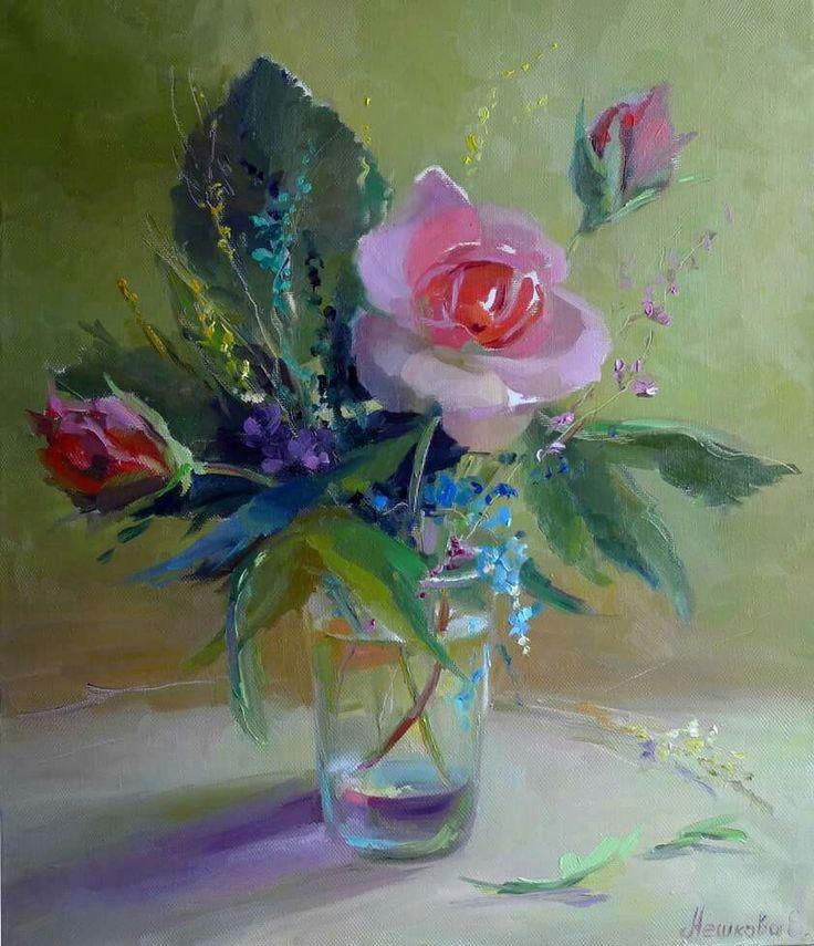 "#neshkovaart Ekaterina Neshkova Art, Екатерина  Нешкова,  ""Букет с голубыми цветами"", ""Bouquet with blue flowers"""