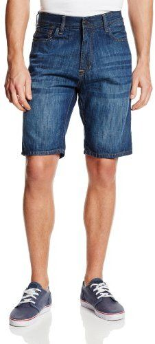 $25, Blue Denim Shorts: Izod Denim Shorts. Sold by Amazon.com. Click for more info: https://lookastic.com/men/shop_items/14726/redirect