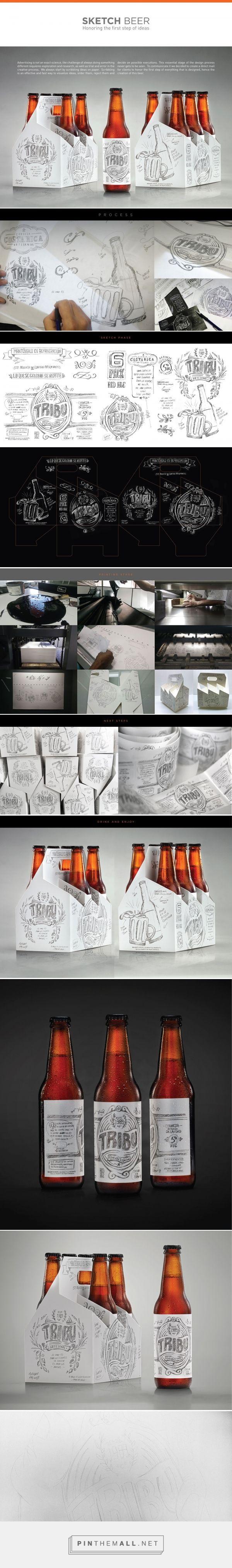 Tribu Sketch Beer packaging design by Tribu DDBº (Costa Rica) - http://www.packagingoftheworld.com/2016/07/tribu-sketch-beer.html