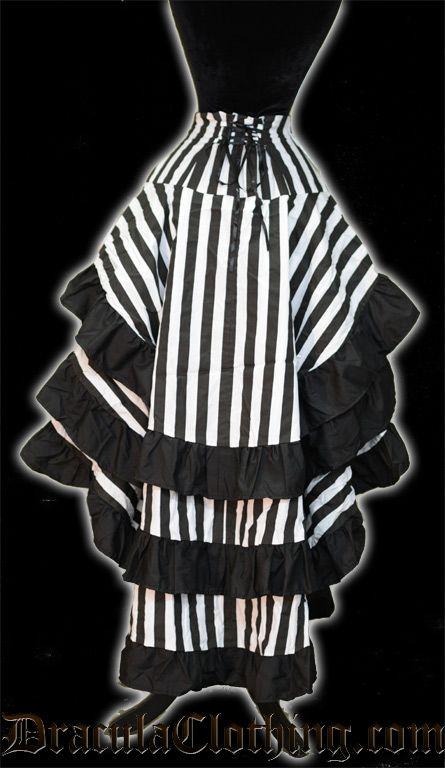 Striped Bustle Layer Skirt  Idee voor Beetlejuice kostuum