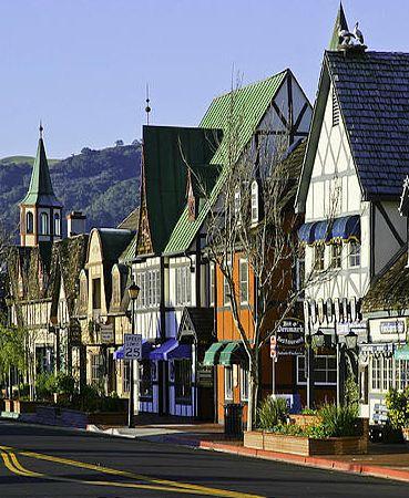 Shops and restaurants of the Danish Village, Solvang, Santa Barbara, California
