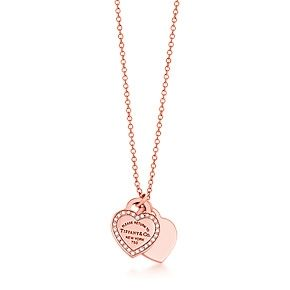 Return to Tiffany™ mini double heart tag pendant in 18k rose gold with diamonds. Sooo cute!