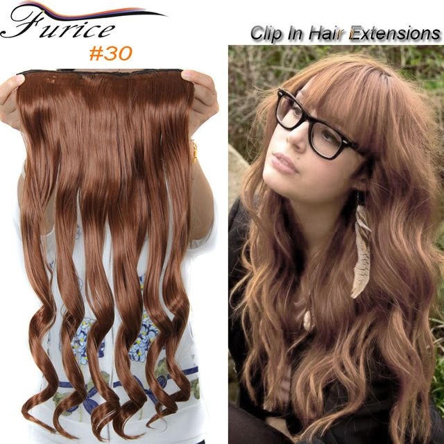 Long Hairpiece Clip In Hair Extensions 5 Clips Top Quality Curly Wavy Heat Resistant Synthetic