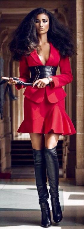 Classy dress and boots combo!