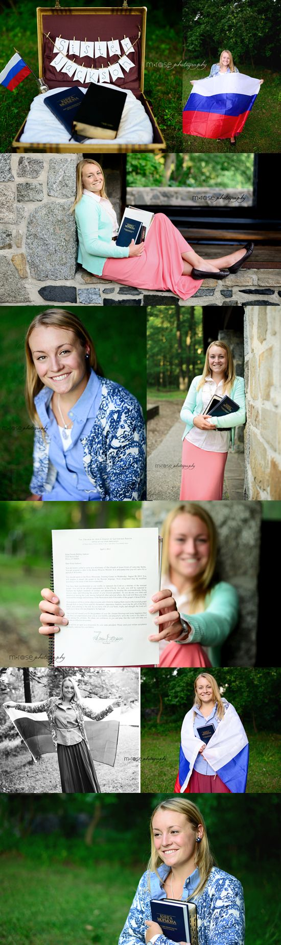 I like the Flag idea, especially for missionary kids. Sister Missionary Photos   M Rose Photography
