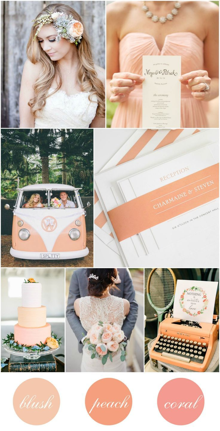 Peach, Blush, and Coral Wedding Inspiration - Typewriter Guestbook, Peach Cake, Volkswagen, Peach Bridesmaids Dresses