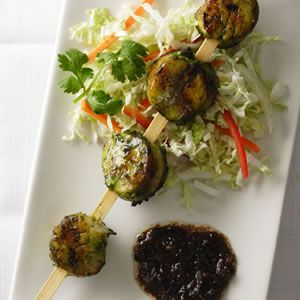 Stronger Together: Grilled Sea Scallops with Cilantro & Black Bean Sauce
