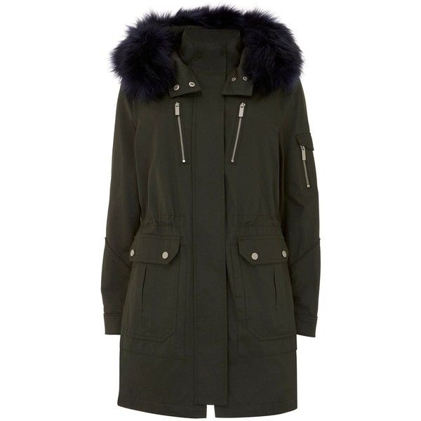Mint Velvet Khaki & Navy Faux Fur Parka (22435 RSD) ❤ liked on Polyvore featuring outerwear, coats, women coats & jackets, faux fur trim coat, faux fur hooded coat, parka coats, sports coat and navy sports coat