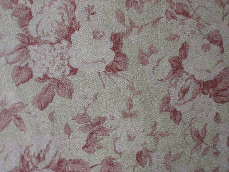 Cotton Upholstery Fabric Shabby Chic Home Decor Barn Red Pale Pink Yellow