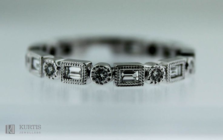 Diamond Band. Baguette and Round Diamonds in 14kt White Gold Band.  www.kurtisjewellers.com
