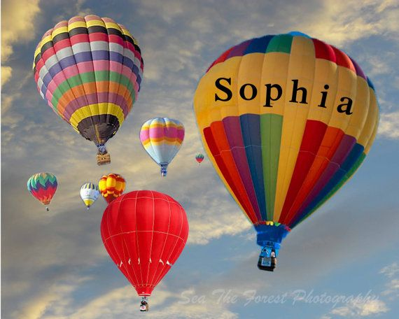 Personalized Balloon Photography, Nursery Wall Art, Children's Room Art, Hot Air Balloon, Child's Name, Flying, Sky, Up Up and Away PhotoArt $19.95 USD