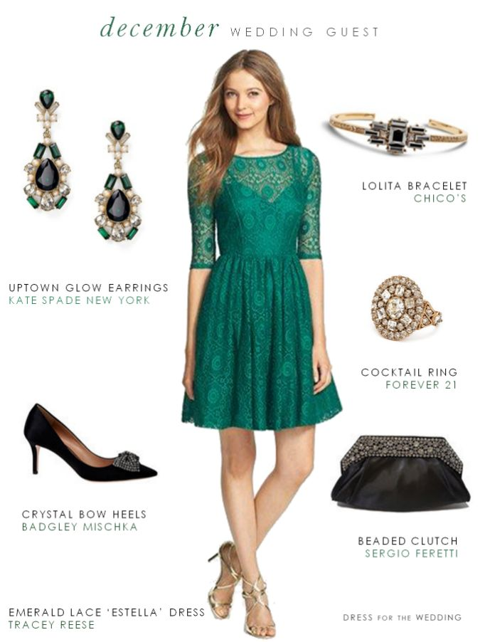 Green Dress for a December Wedding Guest  ---   Emerald Green' Estella' Dress Plenty By Tracey Reese / Earrings:   kate spade new york uptown glow earrings / Bracelet: Chico's Hematite and Gold Lolita Bracelet / Ring: Cocktail Ring Forever 21 / Clutch:  Sergio Feretti Beaded Clutch / Heels: Badgley Mischka Lemonade Fabric Heels with Crystal Bow