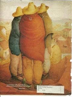 """En 1943 el artista venezolano Hétor Poleo, pintó un cuadro llamado """"Los tres comisarios""""  Estos tres tipos, de aspecto tosco y vulgar, que conversan entre ellos, mientras dan la espalda al espectador, representan la """"máxima autoridad"""" del pueblo, con sus peinillas colgando del cinturón."""
