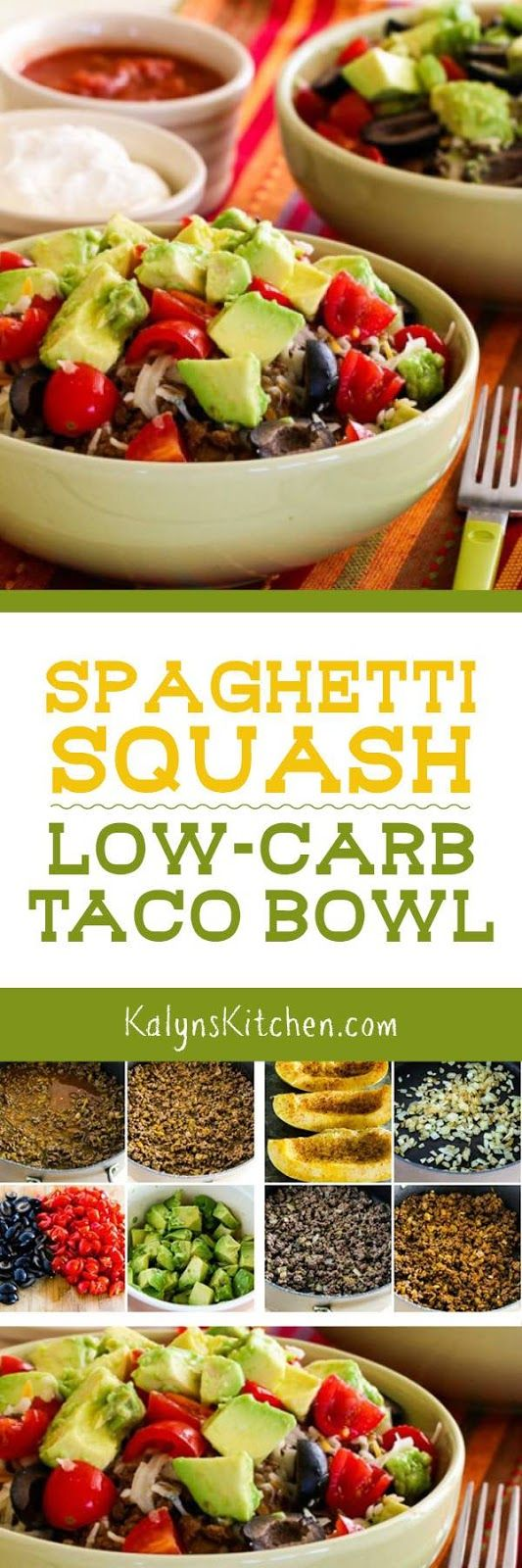 I love all the spicy flavors in this Spaghetti Squash Low-Carb Taco Bowl; this is an easy and delicious low-carb meal that's quick enough to make on a week night! [found on KalynsKitchen.com]: