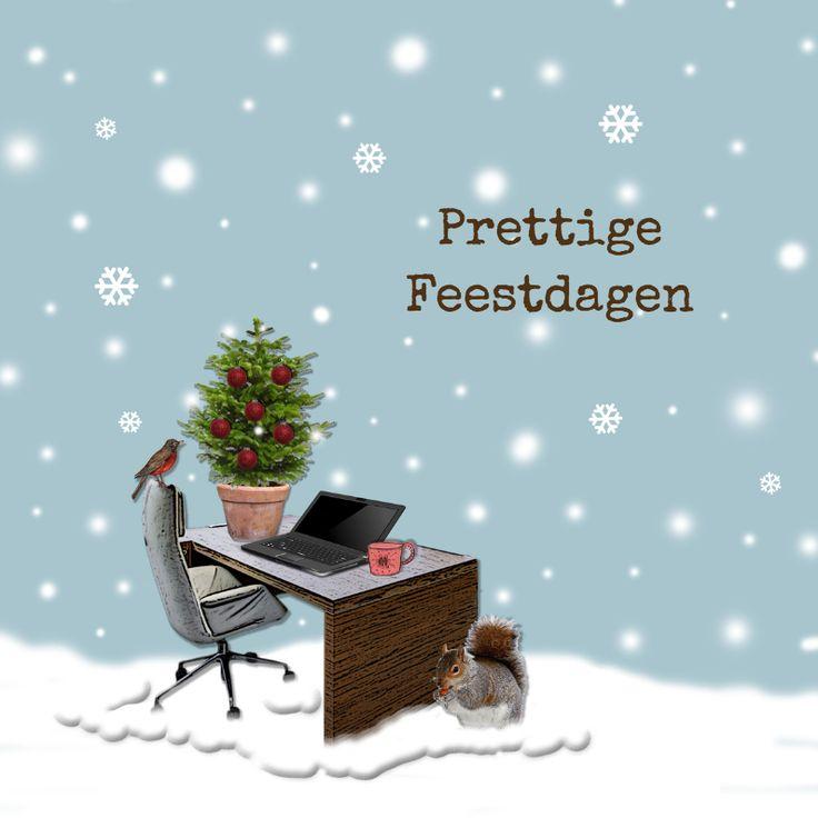 Werkplek in sneeuw blauw, kerstkaart zakelijk, ontwerp: Hilde Reurink