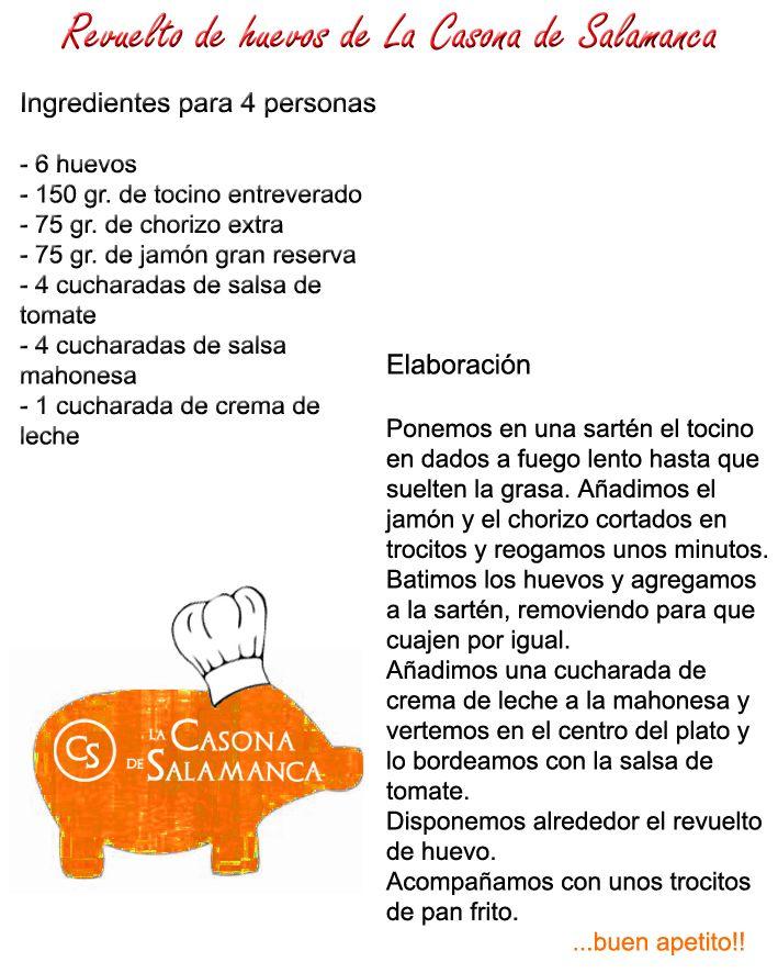 Los huevos revueltos de La Casona de Salamanca. http://www.jamonibericosalamanca.es/es/