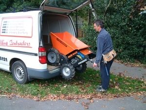 Muck Truck Power Barrow can easily be loaded and unloaded from a van. The 4WD Muck Truck Power Barrow moves building materials over most terrains. The Muck Truck is used by builders, landscapers and tree surgeons.  http://www.fresh-group.com/muck-truck.html