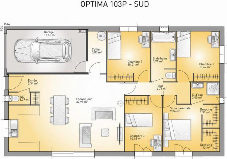 Plan maison neuve à construire - Maisons France Confort Optima 103 P