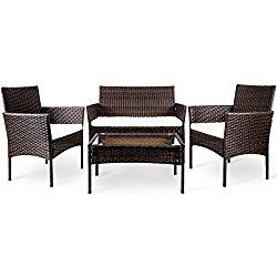 Merax 4 PC Patio Furniture Sets Outdoor Garden Rattan Furniture Sets Cushioned Seat Wicker Sofa (Brown_NO.1)