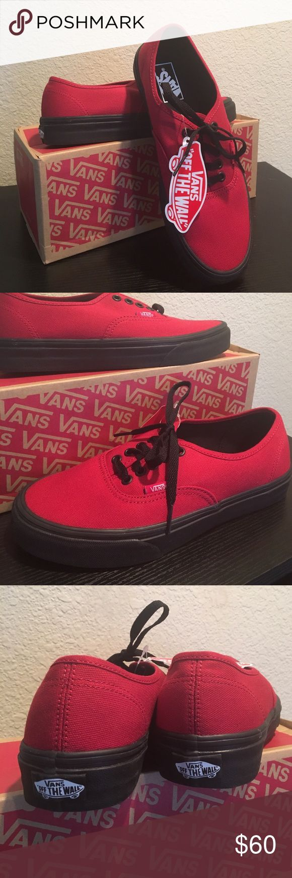 Vans Authentic Black Sole Jester Red Vans New With Box Jester Red Vans Shoes Athletic Shoes
