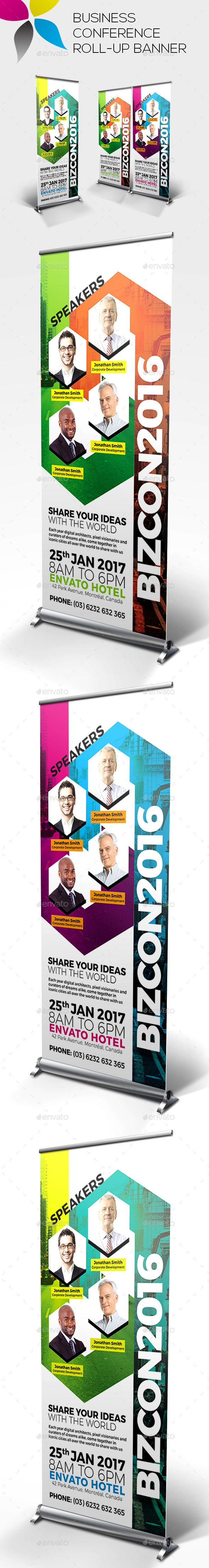 Business Conference Roll-up Banners Template PSD