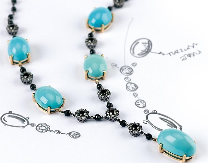 COLECCION SUEÑOS CUMPLIDOS: Collar de turquesas y brillantes Únicas e irrepetibles turquesa iraníes combinan delicadamente con brillantes azabache.  #joyeriabarcelona #joyeriaroca #joyas #piedraspreciosas #collares #anillos #pulseras