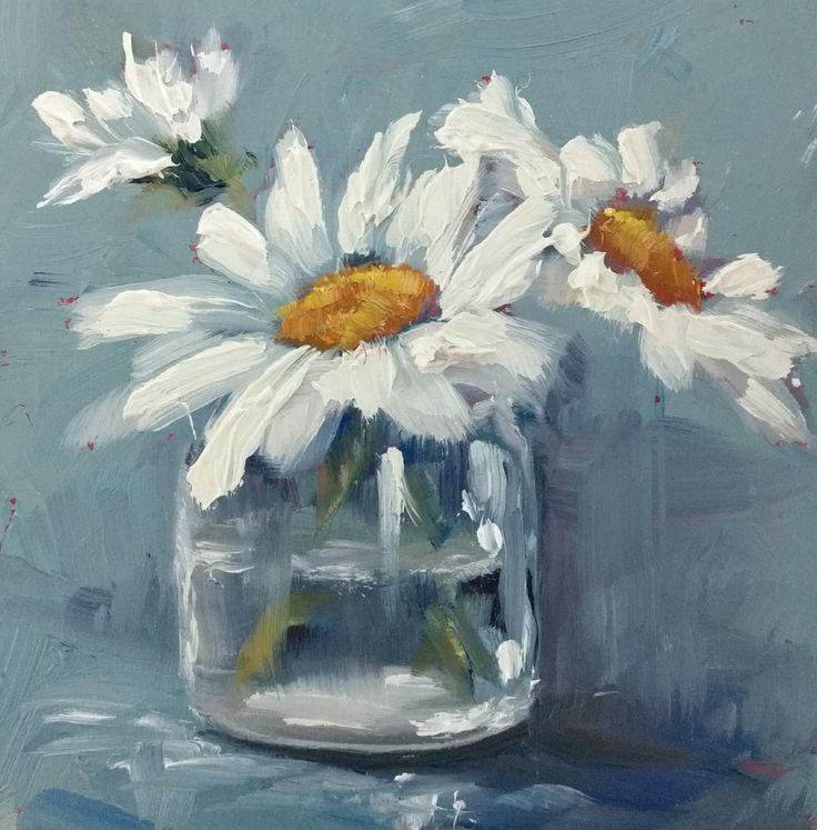 "Mini oil painting ""Daisies"""