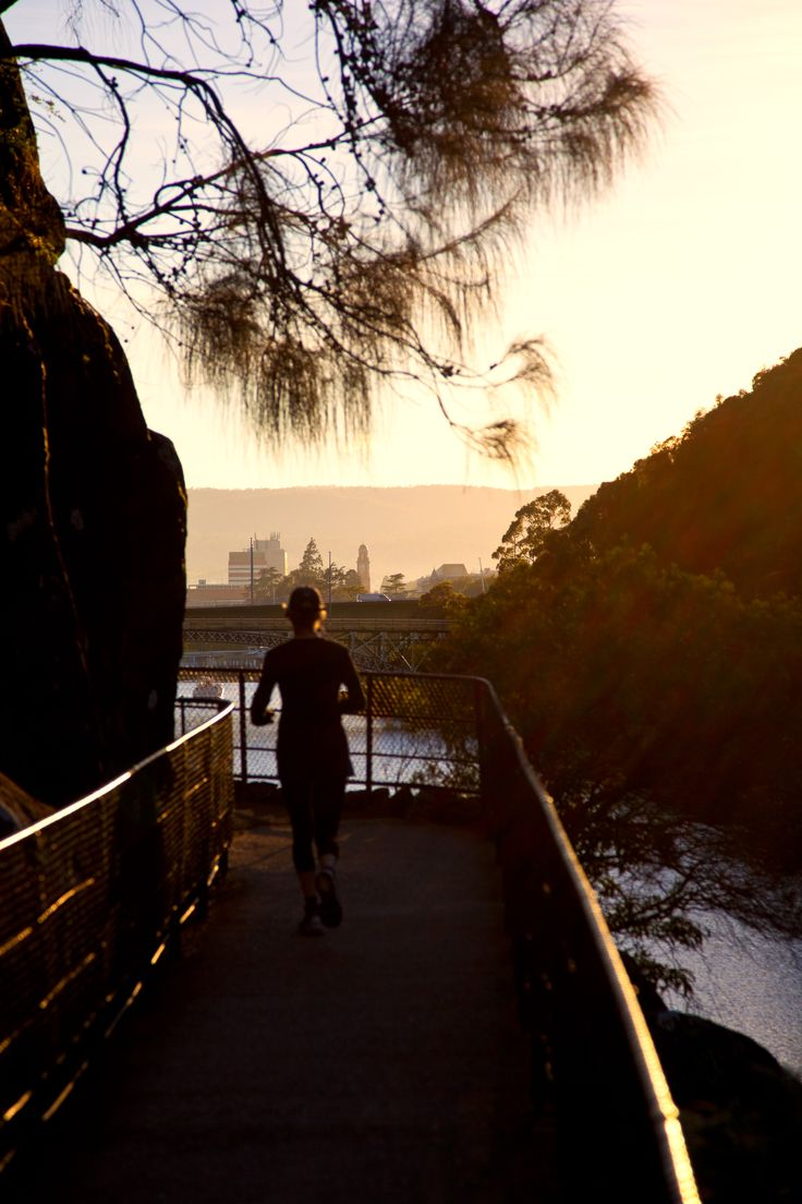 Jogger on Main Walk at Cataract Gorge.