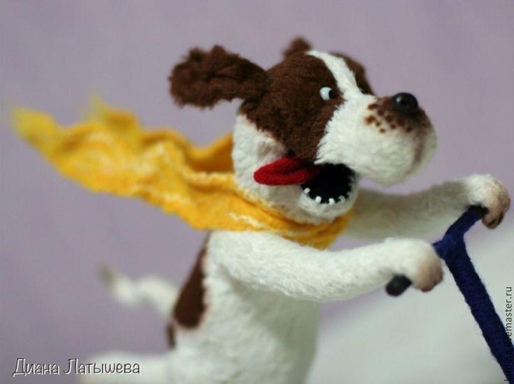 """""""Э-эх, с ветерком!!!"""" - коричневый,белый,желтый,собака,пес,тедди,игрушка"""