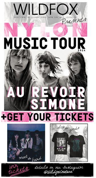 """SUB: """"Be our groupie. The Wildfox x Nylon Music Tour is on!"""" Biglietti e date dei live, playlist su spotify e selezione di look da indossare al concerto. Wildfox e Nylon hanno pensato proprio a tutto per sponsorizzare il tour della band """"Au revoir Simone""""."""