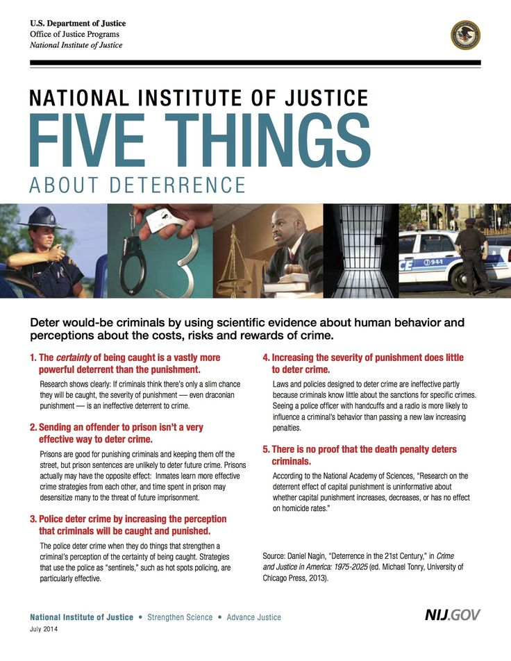 Five Things About #Deterrence - A new flyer released by the National  Institute of Justice
