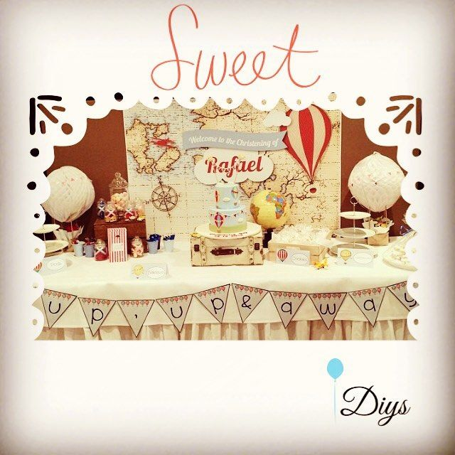 Sweet table for hot air balloon christening DIYS #diys #diy #christening #brisbaneparty #brisbane #queensland #australia #partyplanner #style #mumblog #mum #doneinyourstyle