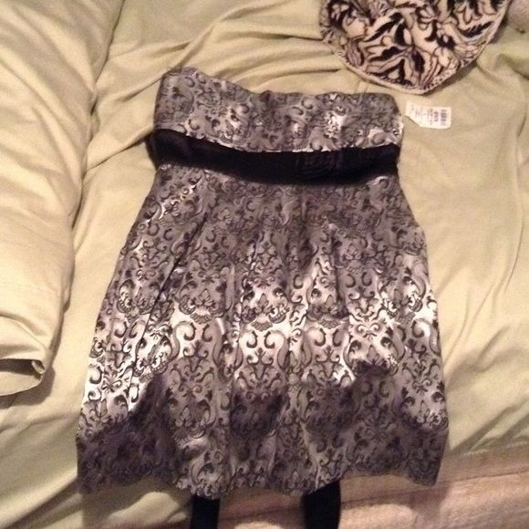 Dress Gray and black dress Dresses Strapless