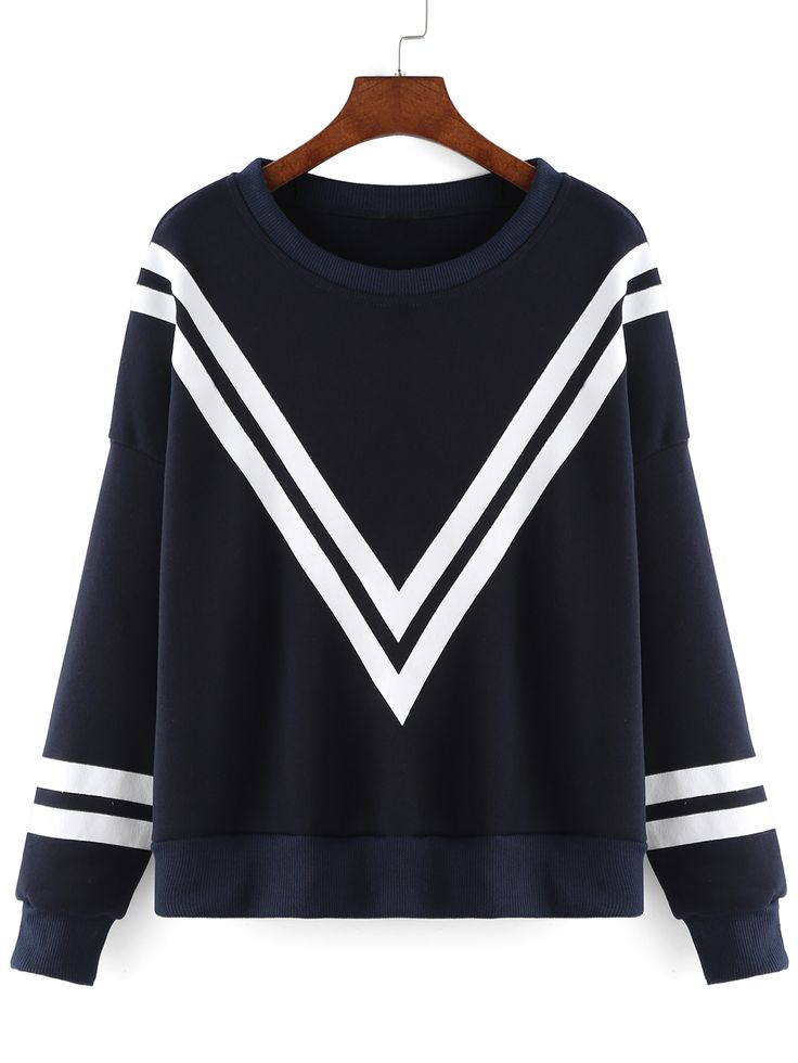 Women Striped Loose Navy Sweatshirt