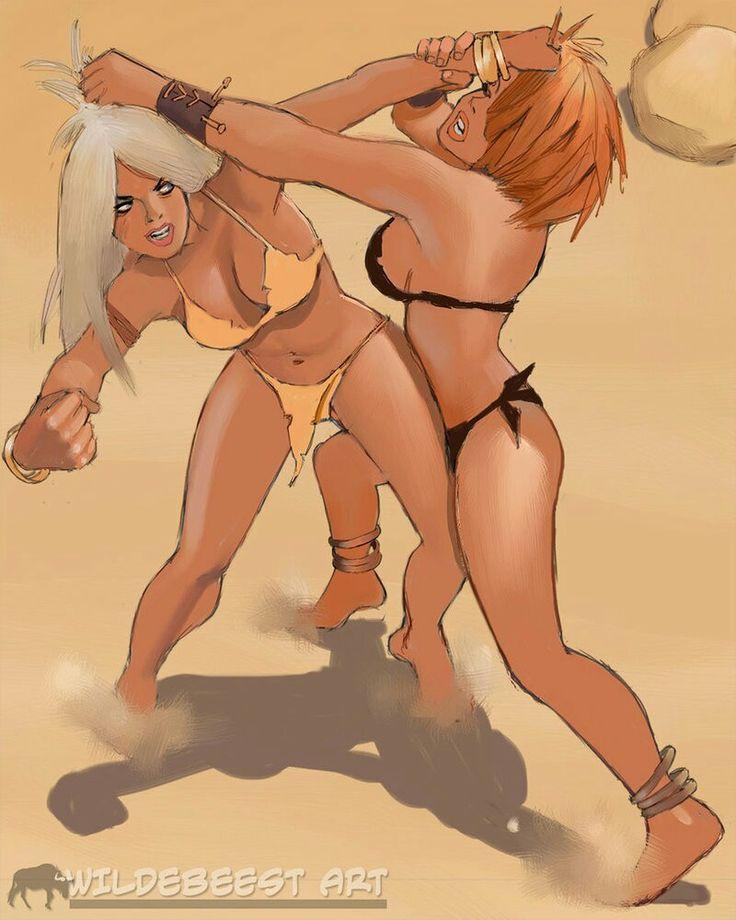 Catfight Comic Fight Blonde Vs Brunette 500X673 Image