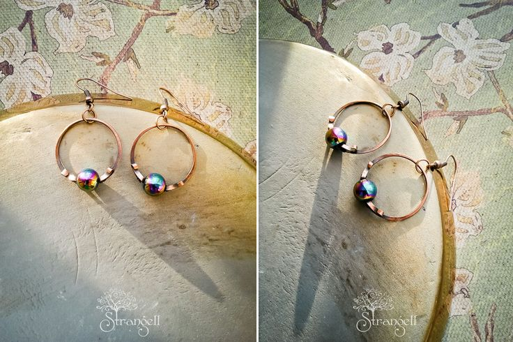 Медные серьги-колечки, радужный гематит. Copper earrings-rings, rainbow hematite. strangell.livemaster.ru