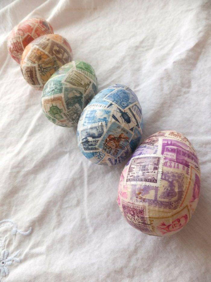 Vintage-Ostereier mit Briefmarken dekoriert, Ideen zum selbermachen                                                                                                                                                                                 Mehr
