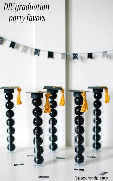 DIY Graduation Party Favors by No Biggie. Here's a quick and easy project to make with cardstock, tube containers and embroidery thread. For sturdy black cardstock, we suggest Core'dination's Nightfall which has a black core so there will be no unsightly edges. Find it now at www.cardstockshop.com.