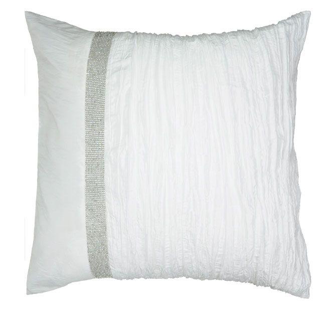 Tiara Snow DAVINCI  Features: Plain and crinkle texture faux silk panels Vertical diamante tape trim Plain faux silk reverse  Dimensions: x1 European Pillowcase - 65cm x 65cm - #pillowcases