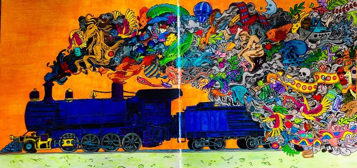 Kerby Rosanes Crazy Train. Coloured by Judy Boechler
