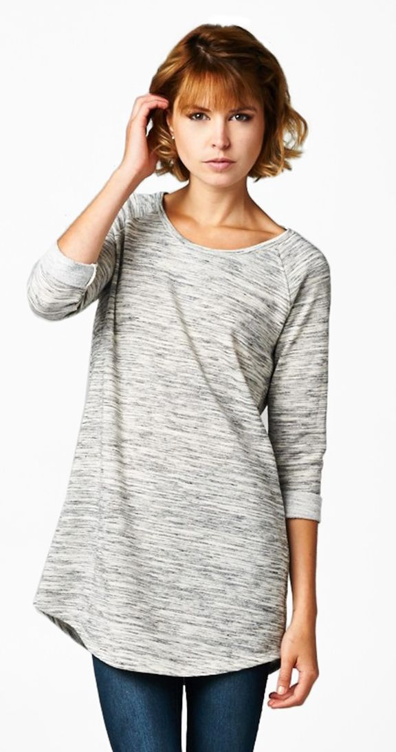 Simplicity- Tunic length tops are the bomb for multiple reasons. They look amazing with leggings, they cover the bum, and they lengthen the torso. This tunic has a wicked heather grey pattern that just adds an added dimension. Simple, flattering and comfy - how can you go wrong.